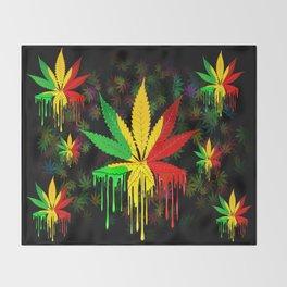 Marijuana Leaf Rasta Colors Dripping Paint Throw Blanket