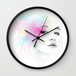 Pastel glowing Girl digital portrait Wall Clock