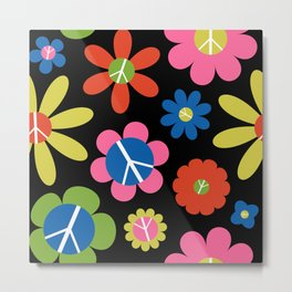 Peace, Love, + Daisies in Black Metal Print