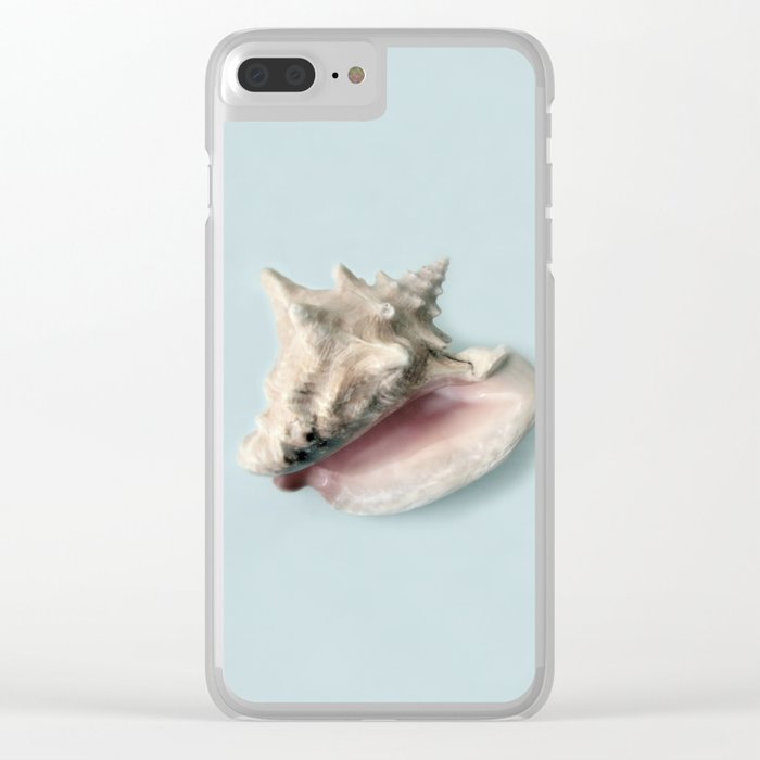 Beige and Pink Shell on Aqua Blue Clear iPhone Case