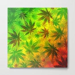 Marijuana Leaves Rasta Colors Metal Print