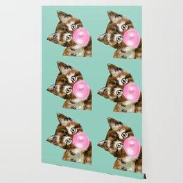 Bubble Gum Baby Cat in Green Wallpaper