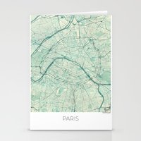 paris map Stationery Cards featuring Paris Map Blue Vintage by City Art Posters