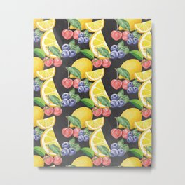 Fruits on Chalkboard Metal Print