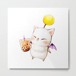 Moogle Bubble Tea Metal Print
