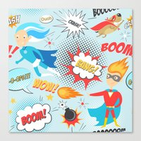 super heroes Canvas Prints featuring Super Heroes by Petit Griffin