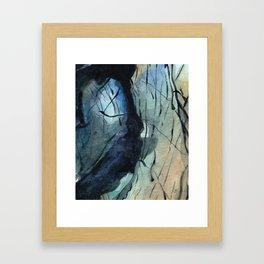 Labradorite Crystal Watercolor Framed Art Print