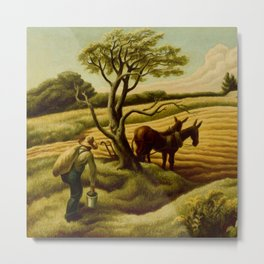 Classical Masterpiece 'Noon Time' Old West Harvest Time portrait painting by Thomas Hart Benton Metal Print