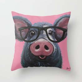 Pig with glasses art, Colorful pig art Throw Pillow