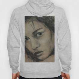 Graphic art, coal portrait, picture of beautiful girl with dark eyes Hoody
