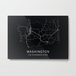 Washington State Road Map Metal Print