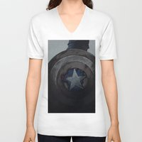 steve rogers V-neck T-shirts featuring Captain Steve Rogers by yurishwedoff