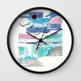 Beach with Sun and Moon Wall Clock