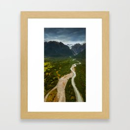 New Zealand - Flying through the Fox Glacier valley Framed Art Print