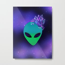 Blue Alien with Crystals Metal Print