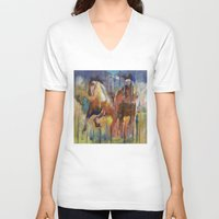 horses V-neck T-shirts featuring Horses by Michael Creese