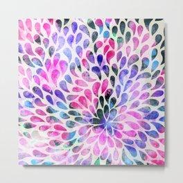 Modern pink teal black watercolor waterdrops Metal Print