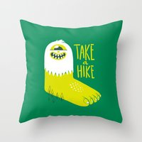 bigfoot Throw Pillows featuring Advice Bigfoot by Morkki