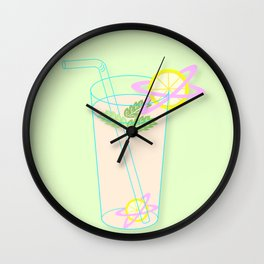 Planet Lemon: Pink Lemonade   Fruit   Summer   Poolside   Drinks   pulps of wood Wall Clock