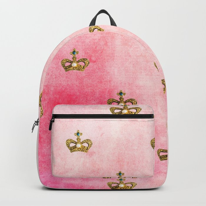 Royal Heraldy Gold crowns on pink watercolor background on #Society6 Backpack