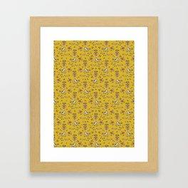 Cute Yellow Garden Flower Birds on Branch Framed Art Print
