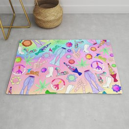 Psychedelic 70s Groovy Collage Pattern Rug