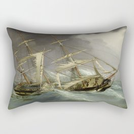 Vintage Destroyed Sailboat During Storm Painting (1859) Rectangular Pillow