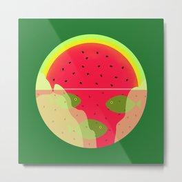 Watermelon Underwater Scene Metal Print