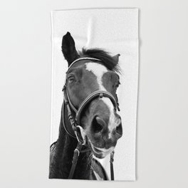 Horse Photo | Black and White Beach Towel