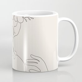 Woman with Flowers Minimal Line II Coffee Mug