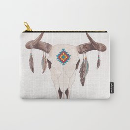 Southwest Feather Skull Carry-All Pouch