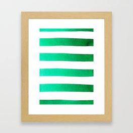 Green stripes Framed Art Print