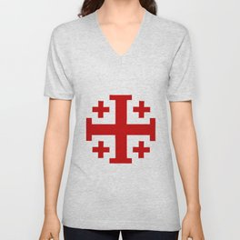 Jerusalem Cross 8 Unisex V-Neck