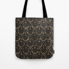 Persian Oriental Pattern - Black Leather and gold Tote Bag