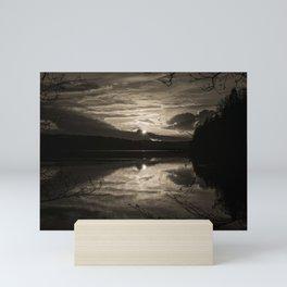 Sundown At Lake Heve 5 sepia Mini Art Print
