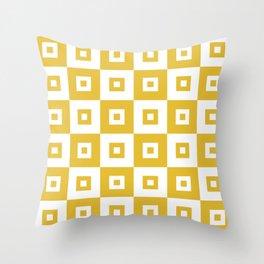 Retro Mid Century Modern Square Pattern Mustard Yellow Throw Pillow