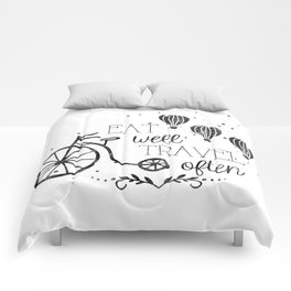 Eat well travel often black and white Comforters