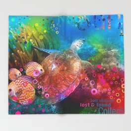 Sea Turtle In Living Color Throw Blanket