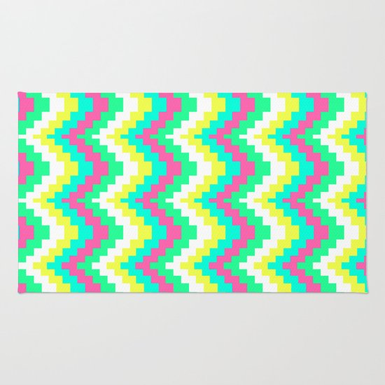 Modern Neon Pink Chevron Pattern Teal Yellow Rug By Girly