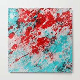 Red Fury - Abstract In Blue And Red Metal Print