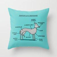 greyhound Throw Pillows featuring Greyhound Anatomy by gemma correll