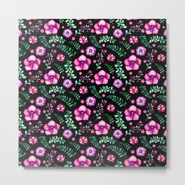 Modern neon pink green black watercolor flowers Metal Print
