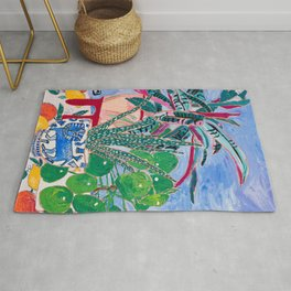 Houseplant collection Still Life on Blue Painting with Stromanthe Triostar, Pilea, and Snake Plant and Lion Vase Rug