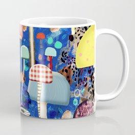 Blue Mushrooms - Zu hause Marine blue Abstract Art Coffee Mug