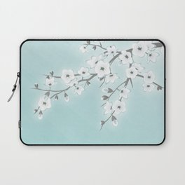 Cherry Blossoms Mint White Laptop Sleeve