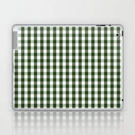 Dark Forest Green and White Gingham Check Laptop & iPad Skin