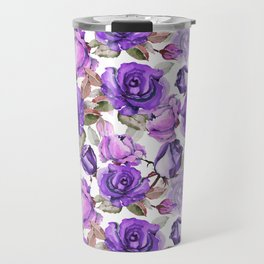 Violet lilac pink watercolor botanical roses floral Travel Mug
