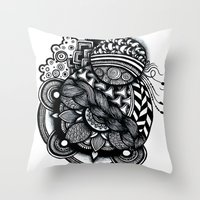 zentangle Throw Pillows featuring zentangle by goyye