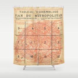 Vintage Paris City Centre Map Shower Curtain