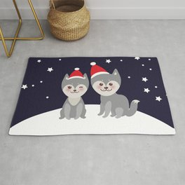 Merry Christmas New Year's card design funny gray husky dog in red hat, Kawaii face with large eyes Rug